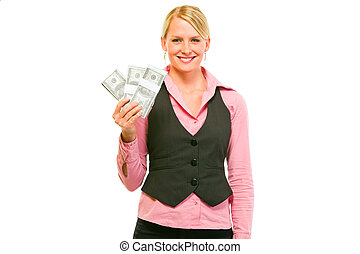Smiling modern business woman with packs of dollars