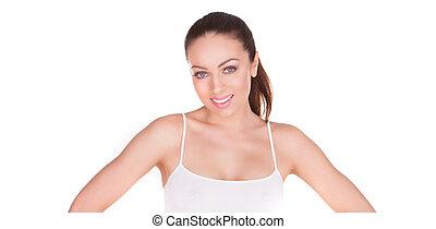 smiling modern natural beauty brunette