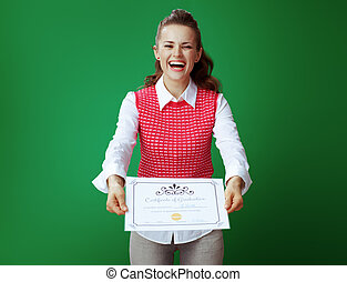 smiling modern student woman showing Certificate of Graduation