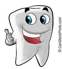 Cartoon illustration of smiling molar tooth gesturing with thumb up. isolated on white background.