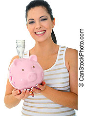 Smiling Mom Holding Piggy Bank