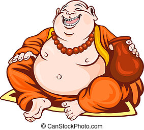 Smiling monk in cartoon style. Vector illustration