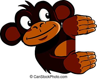 Smiling monkey holding up an invisible frame