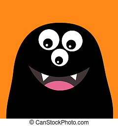 Smiling monster head silhouette. Thtee eyes, teeth, tongue. Black Funny Cute cartoon character. Baby collection. Happy Halloween card. Flat design. Orange background.
