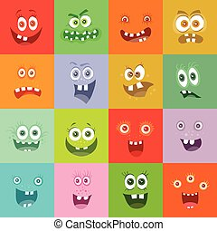 Smiling Monsters Set. Happy Germ Smile Characters