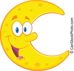 Smiling Moon Cartoon Character - Smiling Moon Cartoon Mascot...