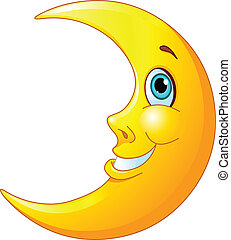 Smiling Moon - Illustration of a happy moon with a friendly...