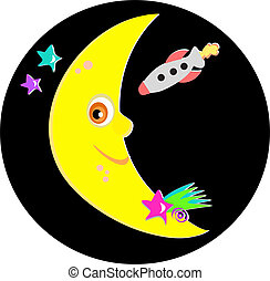 Smiling Moon with Rocket and Stars