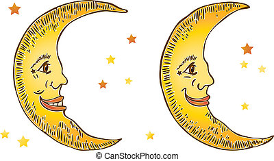 Smiling Moons - Vector art in Illustrator 8. Hand drawn ...