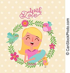 smiling mother and baby wreath flowers bird with love