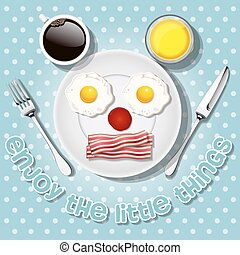 smiling mouse make with fried eggs and bacon