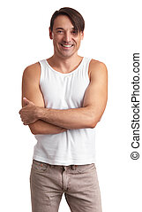 smiling muscular handsome man isolated