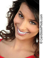 Smiling natural brunette