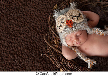Three week old, smiling, newborn baby boy wearing a crocheted owl hat and sleeping on his back in a nest.
