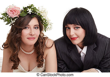 Smiling newlyweds. Concept of gay marriage