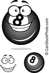 Smiling number 8 billiard ball