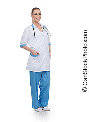 Smiling nurse full length isolated over white background....