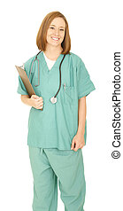Smiling Nurse Holding Clip Board Look At Camera