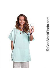 Smiling nurse on white background with stethoscope