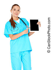 Smiling nurse pointing to a tablet-pc