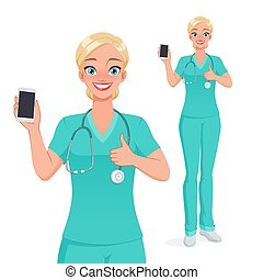 Smiling nurse showing blank vertical smartphone screen with thumb up. Isolated vector illustration.