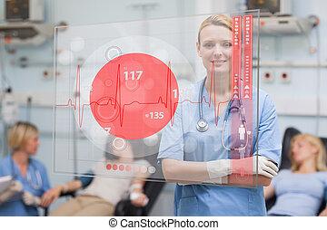 Smiling nurse standing behind red ECG display screen
