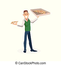 Smiling Office Worker Stand with Carton Pizza Box