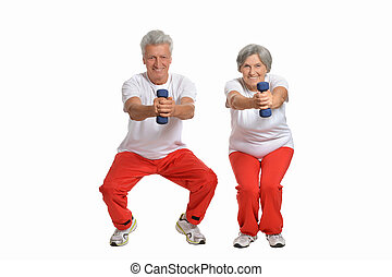 smiling old couple - Amusing happy smiling old couple with...