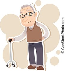 smiling old man - cartoon old man stand with cane and ...