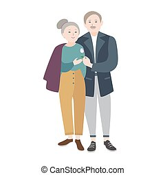 Smiling old man standing beside elderly woman, warmly...