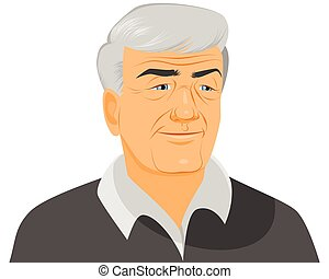 Smiling old man - Vector illustration of a smiling old man