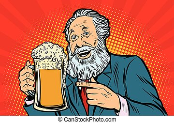 Smiling old man with a mug of beer foam