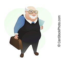 Smiling old man with leather bag and documents