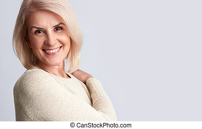 Smiling old woman. anti aging concept