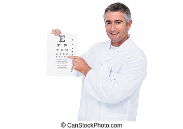 Smiling optician presenting the eye test