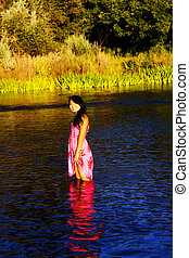 Smiling Oriental Young Woman River Dress Outdoors