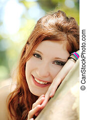 Smiling Outdoor Portrait Red Head Teen Girl