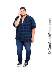 overweight teenage girl talking on cell phone