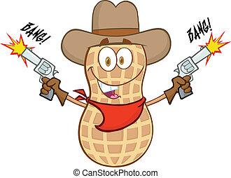 Smiling Peanut Cowboy Cartoon Mascot Character With Guns And Shooting