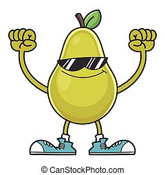 smiling pear cartoon with sunglasses character