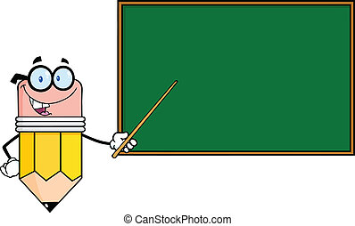 Smiling Pencil Teacher Character With A Pointer In Front Of...