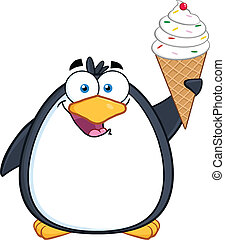 Smiling Penguin With An Ice Cream