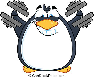 Smiling Penguin With Dumbbells