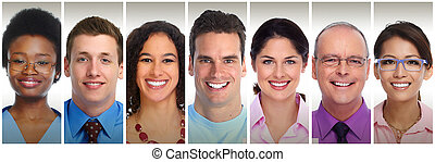 Smiling people faces