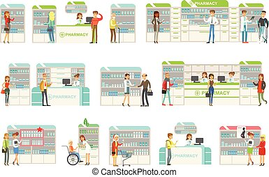 Smiling People In Pharmacy Choosing And Buying Drugs And Cosmetics Collection Of Drugstore Scenes With Pharmacists And Clients