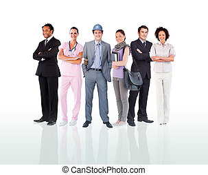 Smiling people posing against a white background