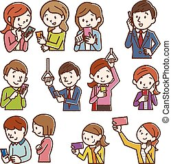 Smiling people using smart phones