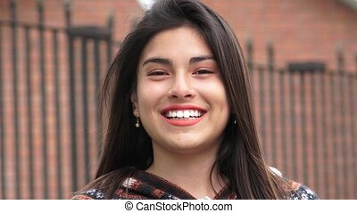 Smiling Peruvian Latina Teen Girl