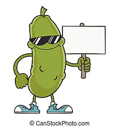 smiling pickle cartoon with sunglasses