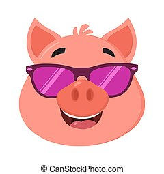 Smiling Pig Cartoon Character Face Portrait With Sunglasses